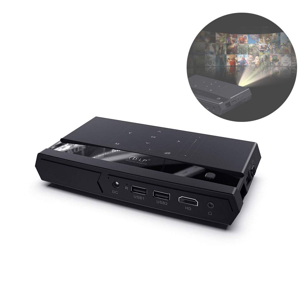 LiChenYao Smart Projection TV モバイルホームシアター DLP Display Technology 150 ANSI HD Play Projector ブラック 04221647 B07R3HHY8Y ブラック