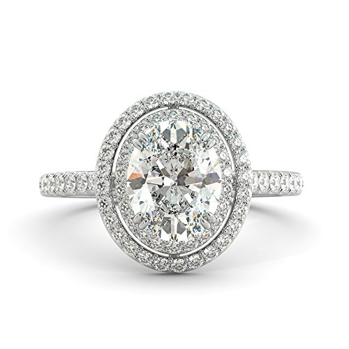 2.92 ct Oval Cut Charles & Colvard Forever One Moissanite & Diamond Halo Engagement Ring Pave 14k White Rose Yellow ()
