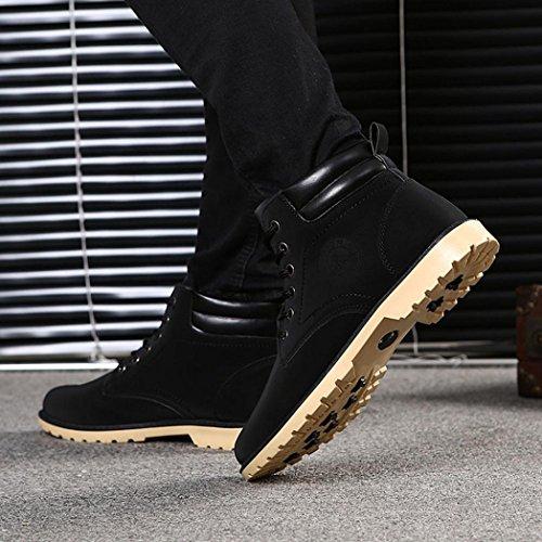 Cordones de con de piel Otoño Martin hombres Zapatos Zapatos Botines de Negro Invierno cordones Boots los Manadlian forro para hombre 4AwWdwqOR