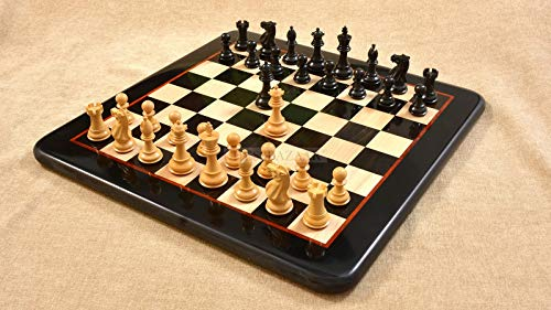 """Chessbazaar The Contemporary Staunton Weighted Chess Pieces with Board Combo in Ebony & Box Wood - 3.0"""" King Complete Chess Set Extra Queens"""
