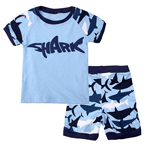 Summer Pajamas Shorts (Dizoon Little Boys Shark Short Sleeve Pajamas Sets 2 Pieces Blue 8T)