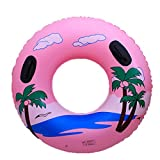 DMGF Giant Inflatable Swim Ring Raft Tube Pool Float Coconut Tree Rapid Valves Summer Water Sport Loungers And Floats With Handles Beach Party Toy For Adults Kids,Pink