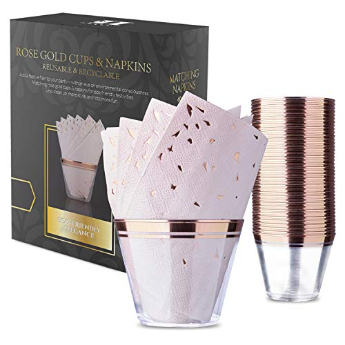 Rose Gold Plastic Cups and Napkins - Set of 60 Disposable 9 Oz Plastic Cups for Birthdays, Wedding, Baby and Bridal Showers, Graduation, Cocktail Parties