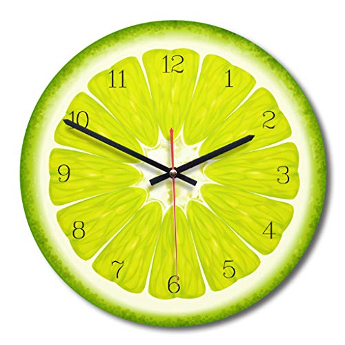 cici store Creative Fruit Printed Wooden Digital Wall Clock, Silent Quartz Clock Kitchen Home Modern Decorative Ornament (Lime)