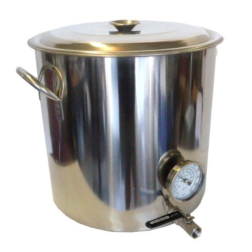 HomeBrewStuff 32 QT Stainless Steel Home Brew Kettle with Valve and Thermometer by Home Brew Stuff