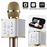 Finity Wireless Q7 Karaoke Microphone, Portable Handheld Bluetooth Condenser Microphone and Speaker Iphone and Android by Finity (Gold)