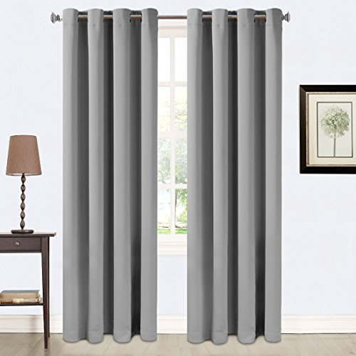 Balichun 2 Panles Blackout Curtains Thermal Insulated Grommets Drapes for Bedroom/ Living Room 52 by 84 Inch Space Grey