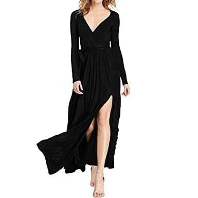 ce6f7dfd778a Amazon.com  Sue Joe Women s Maxi Dress Plunge V-neck Long Sleeve Front High  Slit Evening Gown  Clothing