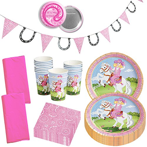 (Cowgirl Party Supplies Western Cowgirl Party Wild West Horse Pink Girly Birthday Party Supplies Disposable Tableware Set for 16)