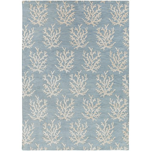 Surya Somerset Bay by Escape ESP-3013 Coastal Hand Tufted 100% New Zealand Wool Powder Blue 8' x 11' Area Rug - Somerset Blue Rectangle Rug