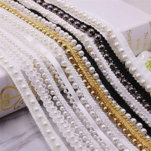 LGCD 1ヤードホワイト/ブラックパールビーズレーストリムテープレースリボンレースファブリックカラードレス縫製ガーメント飾り材料 (Color : H 1)