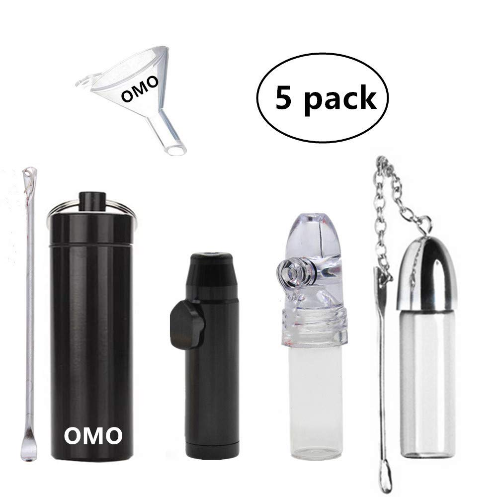 OMO Snuff Bullet Metal Snuff Spoon Small Funnel Aluminium Alloy Snuff Bullet Kit Sealed Snuff Bottle with Spoon Rocket Snorter Dispenser Glass Snuff Bullet(5 pack) by OMO