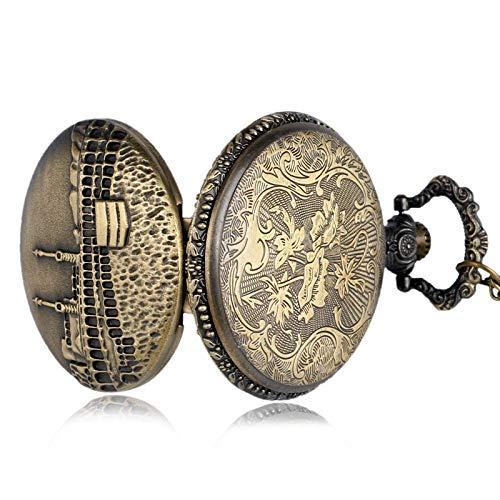 ZJZ Ny gåva för män mode slott brons hänge kedja kvarts fickur halsband