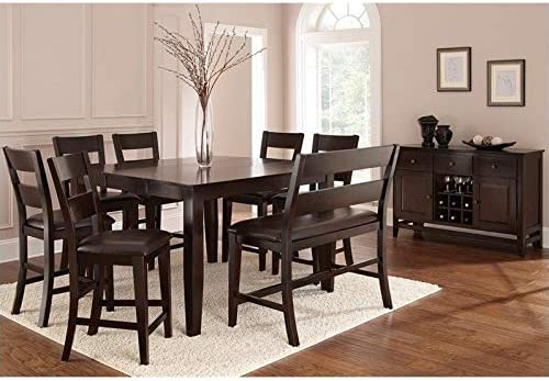 Steve Silver Company Victoria 8 Piece Counter Height Dining Table Set in  Espresso