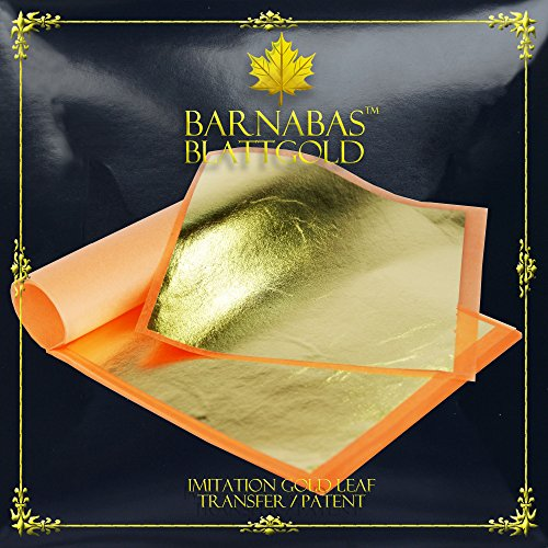Imitation Gold Leaf Sheets - by Barnabas Blattgold - 25 Sheets - 5.5 inches Booklet - Transfer Patent Leaf
