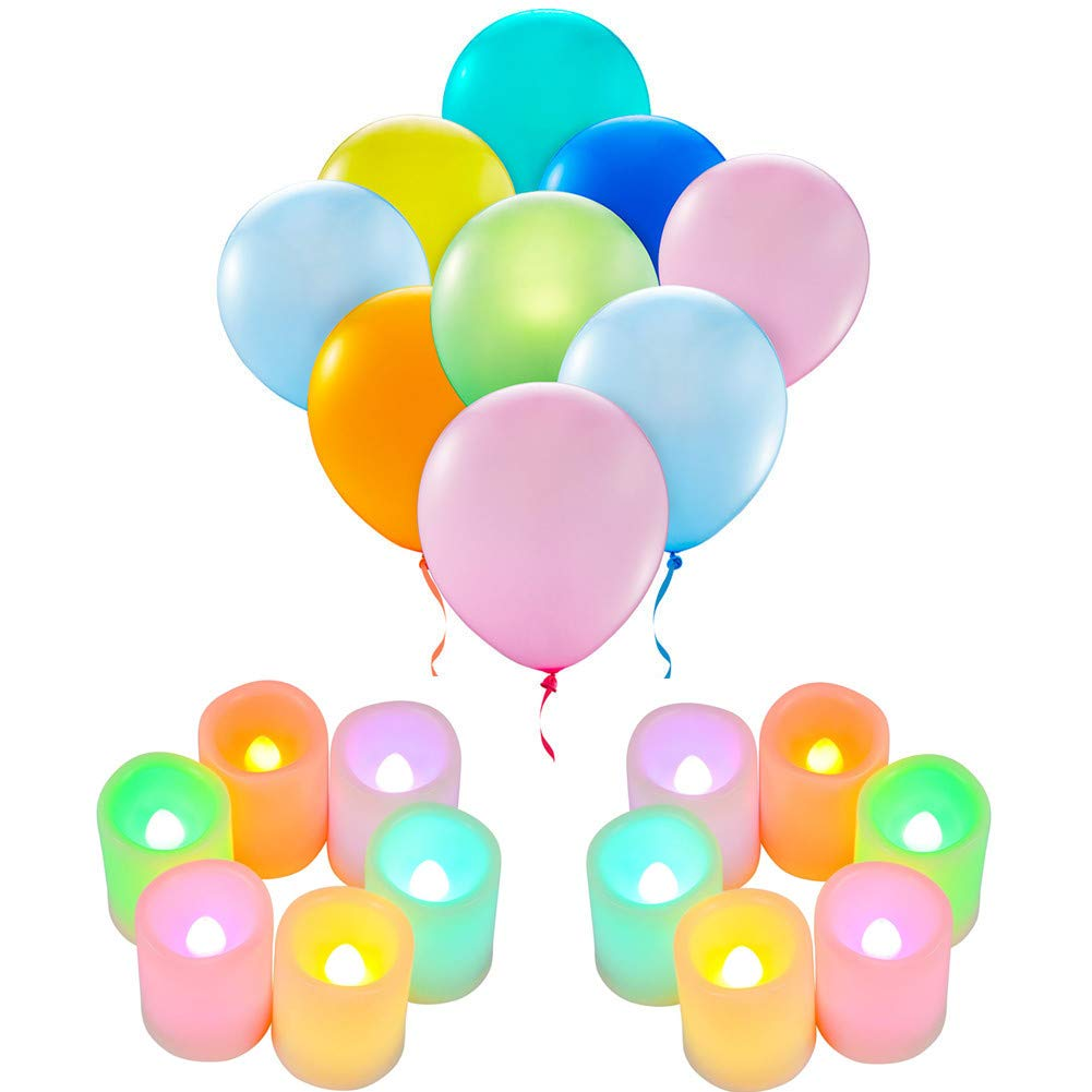 LED Light Up Balloons Color Light Candles- Mixed Colors Flashing Party-Lights Ideal for Party Birthday Wedding Decoration (Multiple Color)