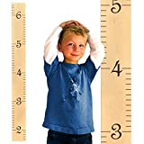 Growth Chart Art | Growth Ruler Wood Chart for Boys & Girls | Wooden Height Ruler | Kids Ruler in Naked Birch w/Chocolate Numerals