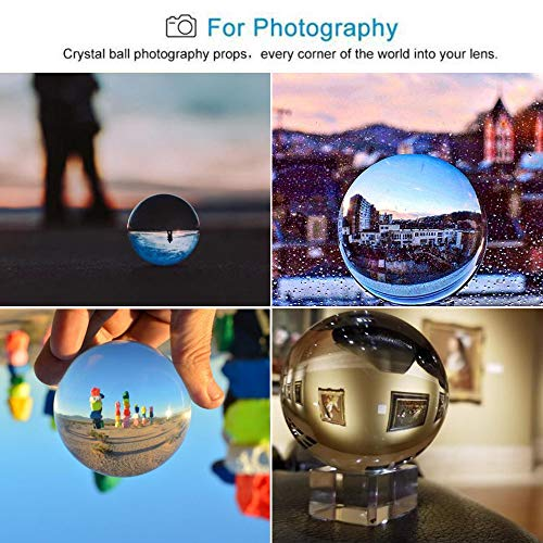 JIHUI Clear Crystal Ball 60mm with Free Stand K9 Crystal Glass Ball for Photography Prop