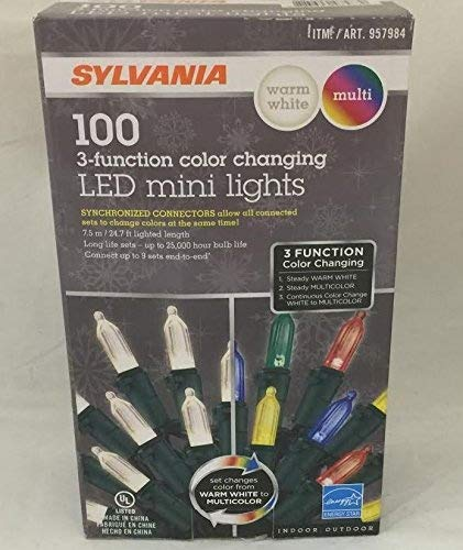 Sylvania Christmas Lights 3-function Color Changing Warm White Multi Color Connectable LED Mini Lights 100 count (5 boxes (500 count))