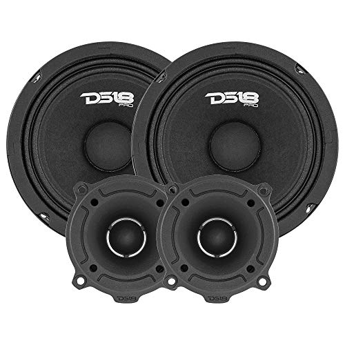 """DS18 PRO-GM6.4PK Mid and High Complete Package - Includes 2X Midrange Loudspeaker 6"""" and 2X Aluminum Super Bullet Tweeter 1"""" Built in Crossover - Door Speakers for Car or Truck Stereo Sound System"""