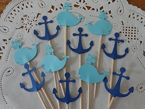 Anchor-Cupcake-Toppers-and-Aqua-Blue-Whale-Navy-Blue-Anchor-Toppers-Party-Picks-Food-Picks-Nautical-Party-Decorations-Set-of-24