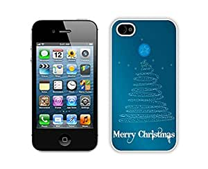 taoyix diy Iphone 4S Case,Merry Christmas Line Tree Durability Apple Iphone 4 4s Silicone White Case