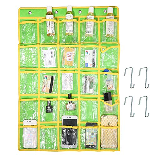 Caveen Classroom Pocket Chart Sundries Closet Pocket Chart for Cell Phones Holder Wall Door Hanging Organizer (25 Pockets) (Green)