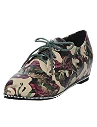 TAOFFEN Women Lace up Flat Ballet Sneaker Green Camouflage Pumps Shoes