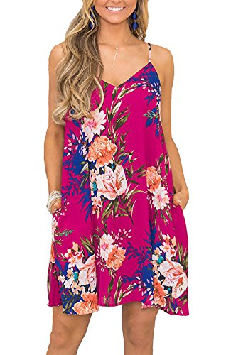ummer Casual Floral Printed Sleeveless V-Neck Short Dress with Pockets (Rose Red, Small) ()