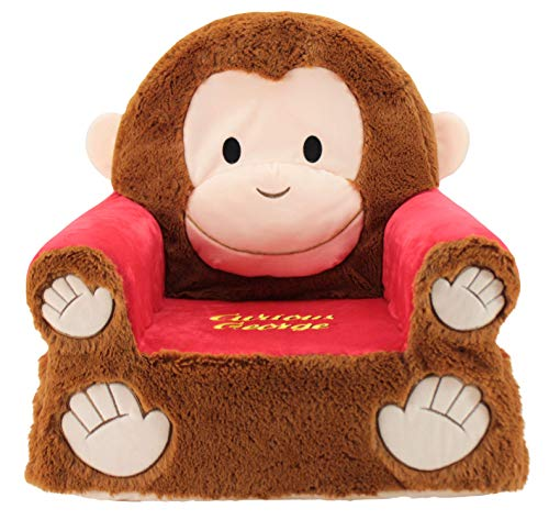 Animal Adventure Sweet Seats | Curious George Children's Chair | Large Size | Machine Washable Cover