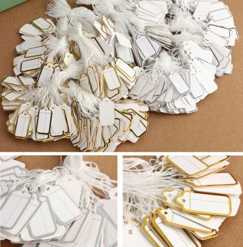 500X Labels Tie String Strung Price Tickets Jewelry Watch Clothing Display Tags (silver edge) ()