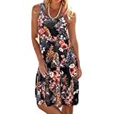 TWGONE Tank Dresses For Women Plus Size Casual Sleeveless Scoop Neck Printed Mini Beach Dress (Large,Black)
