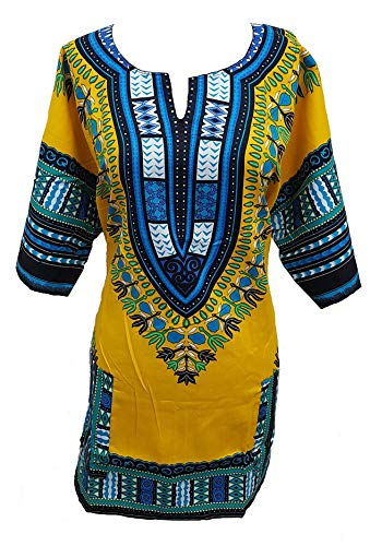 Traditional Unisex Cotton Dashiki Yellow product image