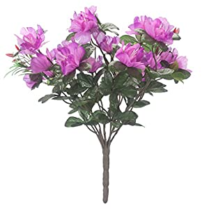 "OakRidge Silk Azalea Bush - Artificial Flowers Outdoor Décor - Purple, 17"" High 14"