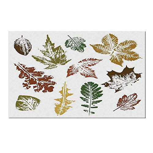 - YOLIYANA Leaf Durable Door Mat,Autumn Spring Maple Oak Various Tree Leaves in Grunge Style Art Decorative for Home Office,19.6
