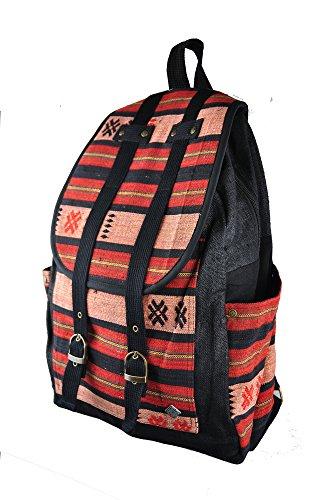 virblatt zaino in canapa 100 % con molti taschini e motivi tessuti a mano dalle tribù asiatiche di montagna - Südwind