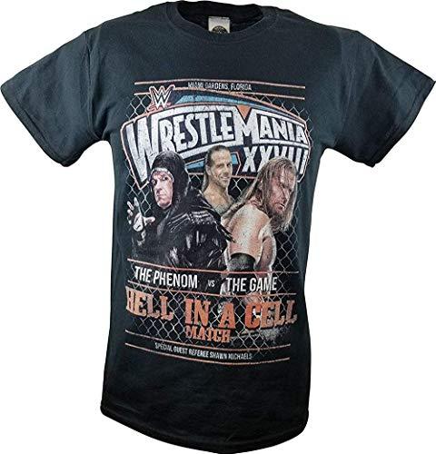 Kosny Wrestlemania 28 XXVIII WWE Triple H vs Undertaker Hell in A Cell Match T-Shirt,Black,Medium (Triple H Hell In A Cell Matches)