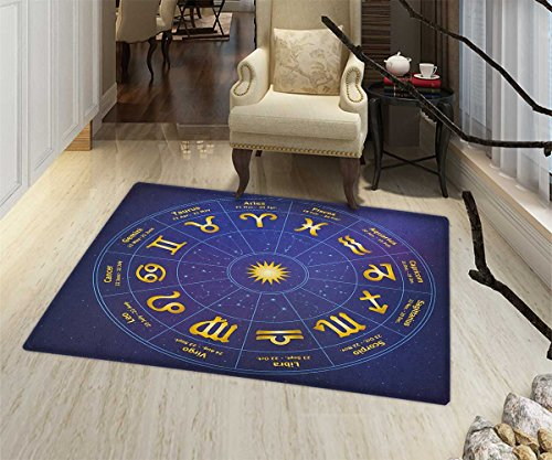 Astrology Bath Mats Carpet Horoscope Zodiac Signs with Birth Dates in Circle with Star Dots Print Floor mat Bath Mat for tub 32