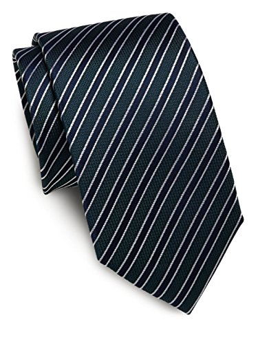 Price comparison product image Yves St. Laurent Woven Silk Stripe Tie,  OS,  Green