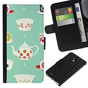 For Samsung Galaxy S4 Mini i9190 MINI VERSION!,S-type® Tea Cup Porcelain Minimalist Pattern - Dibujo PU billetera de cuero Funda Case Caso de la piel de la bolsa protectora