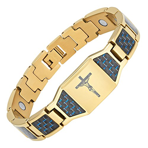 Willis Judd Christian Jesus Crucifix Cross Blue Carbon Fiber Titanium Magnetic Bracelet with Gift Box and Link Adjuster Tool (Cross Link Titanium Bracelet)