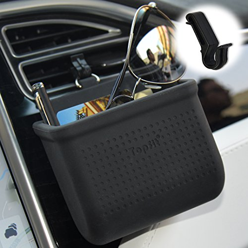 Universal Car Air Vent Mount Outlet Storage Box Case Bag Pouch Holder,Cell Phone Hanging Pocket Dash Organizer Container for Smart Phone,Glasses,Pen,Coin,Key,Credit Card