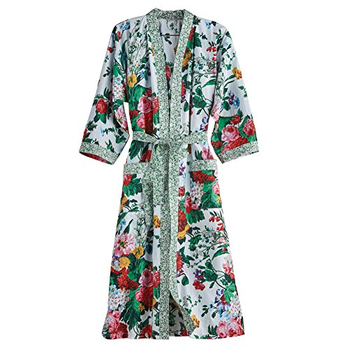 (CATALOG CLASSICS Women's Cottage Garden Robe - Belted Floral Print Kimono - Cotton - Large/XL)