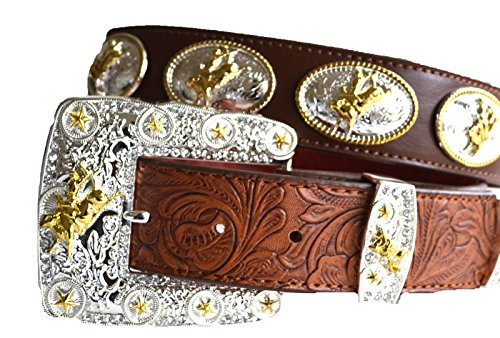 Men western cowboy rodeo bull rider star concho leather bling buckle belt M L XL (M, brown) (Bull Rider Rodeo)