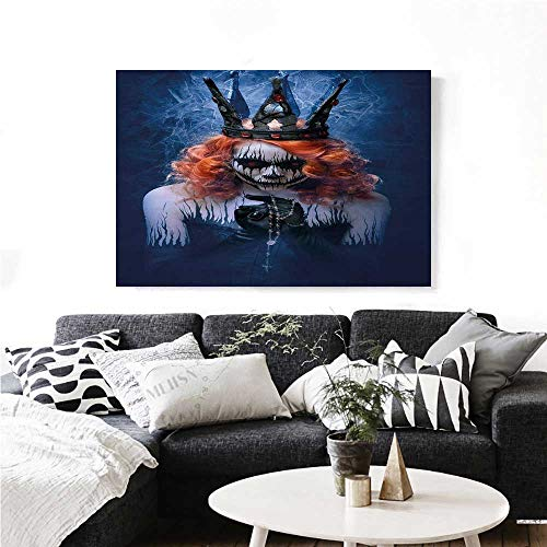 homehot Queen Wall Art Canvas Prints Queen of Death Scary Body Art Halloween Evil Face Bizarre Make Up Zombie Ready to Hang for Home Decorations Wall Decor 48