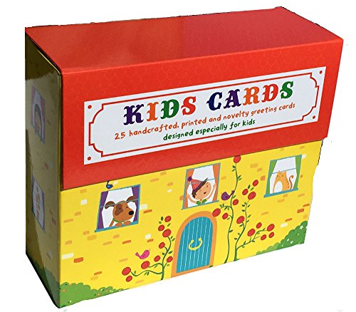 Birthday Cards For Kids - Box of 25 Handcrafted, Printed Birthday Cards Designed Especially For Kids With Coordinating Envelopes in a Keepsake Box