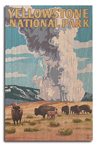 Lantern Press Yellowstone National Park, Wyoming - Old Faithful Geyser and Bison Herd (10x15 Wood Wall Sign, Wall Decor Ready to Hang)