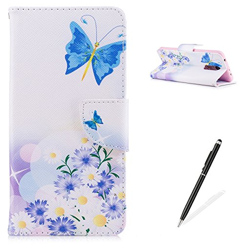 MAGQI Xiaomi Redmi 5 Case,PU Premium Leather Wallet,Magnetic Closure Stand Function and Cute Animal Beautiful Flower Butterfly Pattern for Xiaomi Redmi 5- Butterfly Floral