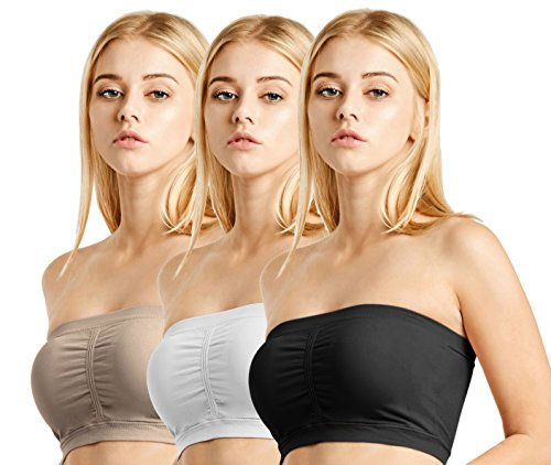 Seamless Bandeau Tube Top Padded Bras With Removable Pads Stretch Active 3 Pack (One Size, Black, White, Taupe) (Padded Bra Tube Top)