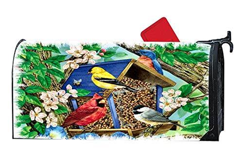 Wildlife Birdhouses - Customized Magnetic Mailbox Cover, Decorative Magnetic Mailbox Wrap, Fits Standard Sized Mailboxes, 6.5 x 19 Inches - Blossoms Birdhouse Wildlife Birds